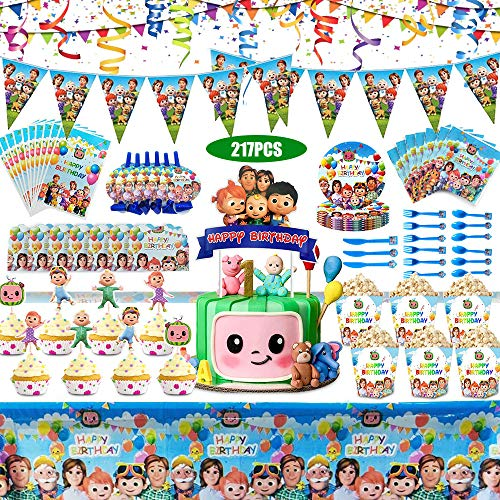Cocomelons Birthday Party Supplies for Kids, Party Decorations Included Paper Plates, Cups, Napkins, Tablecloth, Pennant, Cake Topper, Gift Bags, Blowouts,Invitation Cards (217pcs)