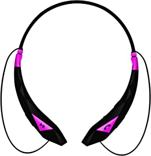 Aduro Amplify Pro SBN45 Wireless Stereo Bluetooth Around The Neck Earbud Headphone Headset (Black/Pink)