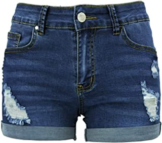 Xudom Womens Ripped Denim Shorts Mid Waist Sexy Short Cutoff Distressed