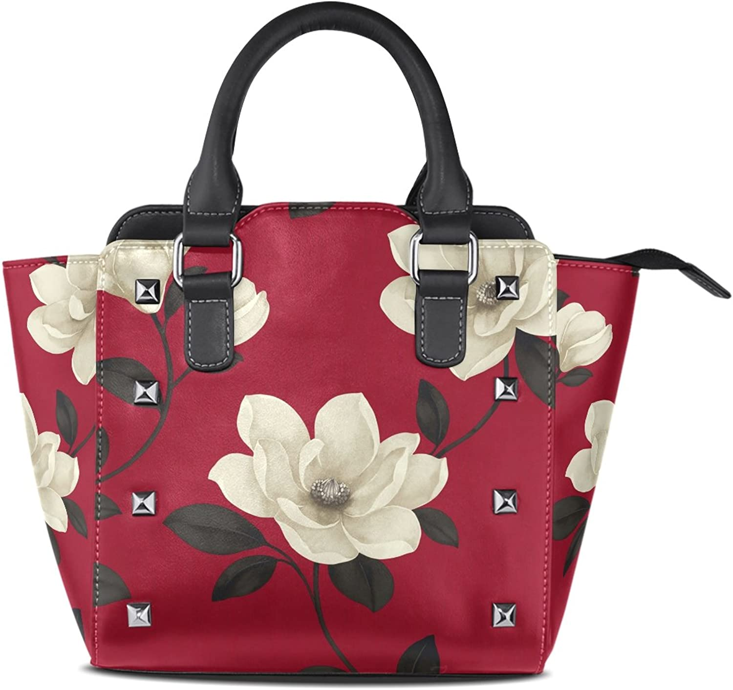 Sunlome Classic White Floral Print Women's Leather Tote Shoulder Bags Handbags