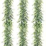 HATOKU 3 Pack Artificial Eucalyptus Garland, Faux Vines Greenery Garland Wedding Backdrop Arch, 6 Feet/pcs Hanging Plant for Party Decorations Table Festival Wall Decor
