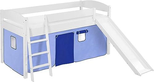 Lilokids Spielbett IDA 4105 Blau - Teilbares Systemhochbett Weiß - mit Rutsche und Vorhang