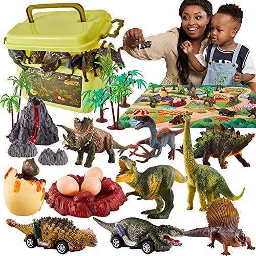 TOEY PLAY Dinosaurio Juguete con Coche,  Tapete de Juego,  Huevos de Dinosaurio y Caja,  Dinosaurios Juguetes Figuras para Niños Niñas 3 4 5 6 Años