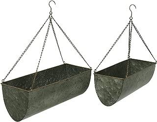 Galvanized Metal Set of 2 Indoor/Outdoor Hanging Planters