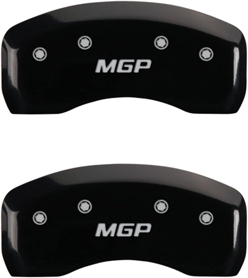 Set of 4 MGP Caliper Covers 28179SMGPBK Black Powder Coat Finish MGP Engraved Caliper Cover with Silver Characters,