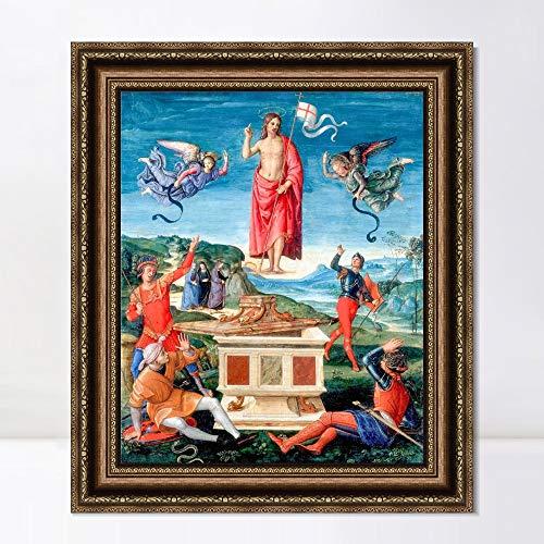 "INVIN ART Framed Canvas Art Giclee Print Series#145 by Raphael/Raffaello Sanzio Wall Art Living Room Home Office Decorations(Vintage Embossed Gold Frame,20""x24"")"