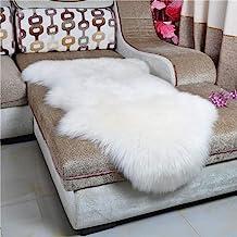 HEBE Faux Fur Sheepskin Rug Runner 2'x4' Soft Sheepskin Fur Chair Couch Cover White Sheepskin Area Throw Rug Runner for Be...
