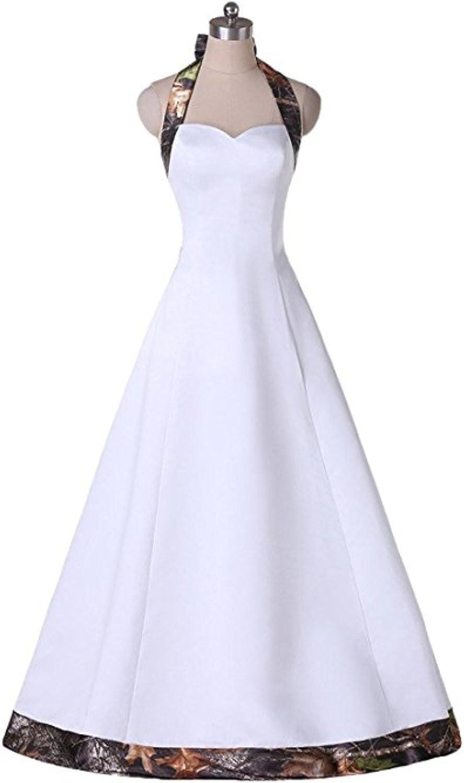Macria Women's Vintage Camo Halter Wedding Dress Bridesmaid Gown