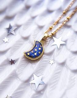 Collana a pois blu luna, gioielli blu, regali unici per le donne, ciondolo a mezzaluna, gioielli celesti, gioielli luna d'...
