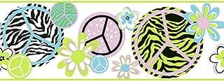 York Wallcoverings Cool Kids PEACE/ZEBRA BORDER Snow Cone Blue/Lavender/Pistachio/Snow/Licorice
