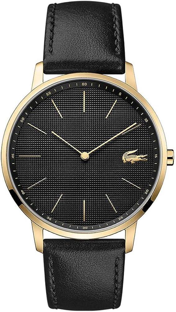 Lacoste ,orologio analogico al quarzo per uomo, con cinturino in pelle e cassa in acciaio 2011004