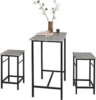 SoBuy Set Mesa Alta de Bar y 2 taburetes Mesa de Comedor OGT10-HG ES (2 sillas)