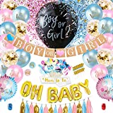S SUNINESS Gender Reveal Party Supplies - 130 Pieces Boy or Girl Gender Reveal Set, Included Black Gender Reveal & Confetti & Foil Balloon, Mom Sash, Banner, Stickers, Photo Props, Cupcake Toppers, Tassels, Balloon Pump