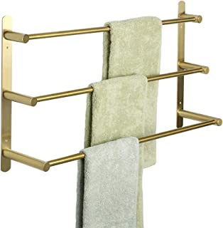 Alise GY3000-G Bathroom 3 Towel Bars Towel Hanging Rod/Rail Wall Mount 24-Inch,SUS304 Stainless Steel Brushed Golden