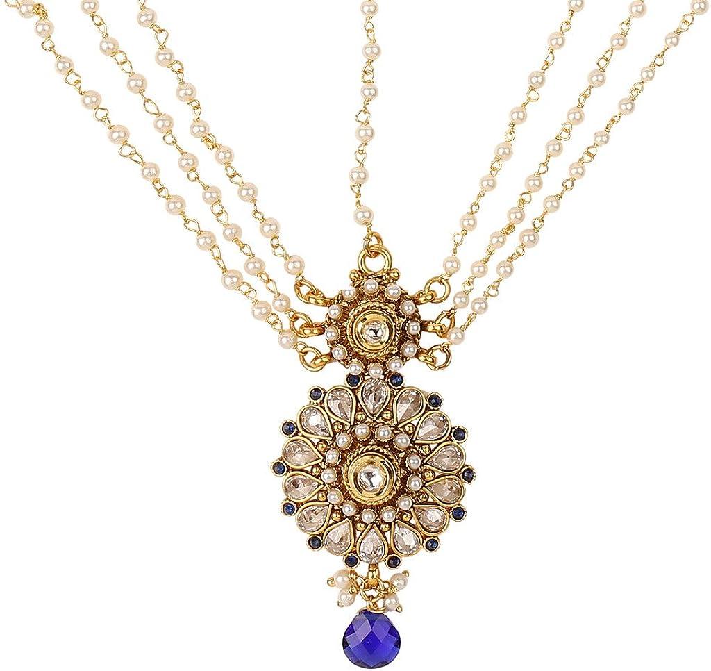 ADIVA Ethnic Indian Traditional Fashion Jewelry Set Festive Maang TikkaSAMA0014BL