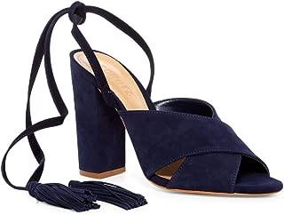 SCHUTZ Damila Night Blue Suede Thick Heel Wraparound Ankle Tassel Sandal Pumps