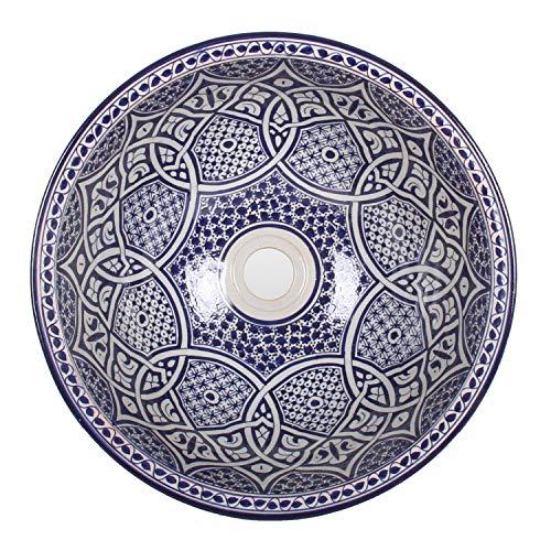 Mediterrane Keramik-Waschbecken Fes103 Ø 40 cm rund H 18 cm blau | Handmade marokkanische Waschschale Handwaschbecken Aufsatzwaschbecken für Badezimmer Küche Gäste-WC