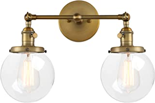 Pathson Vintage 2 Light Wall Sconce with Globe Clear Glass Shade, Black Industrial Vanity Light Fixtures for Bathroom
