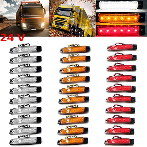 PolarLander 30Pcs 24V 6LED Indicateurs de marqueurs latéraux Lumières Lampe pour Camion de Voiture Remorque Lorry 6 LED Amber Clearence Bus Résistant à l'eau Rouge/Jaune/Blanc
