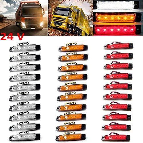 PolarLander 30Pcs 24V 6LED Seitenmarkierungs-Anzeigen Lichter-Lampe für Auto-LKW-Anhänger LKW 6 LED-Bernstein-Räumungs-Bus wasserdichtes Rot/Gelb/Weiß