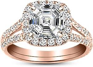 1 Carat 14K White Gold Split Shank Asscher Cut Diamond Engagement Ring (0.5 Ct D Color VVS2 Clarity Center Stone)