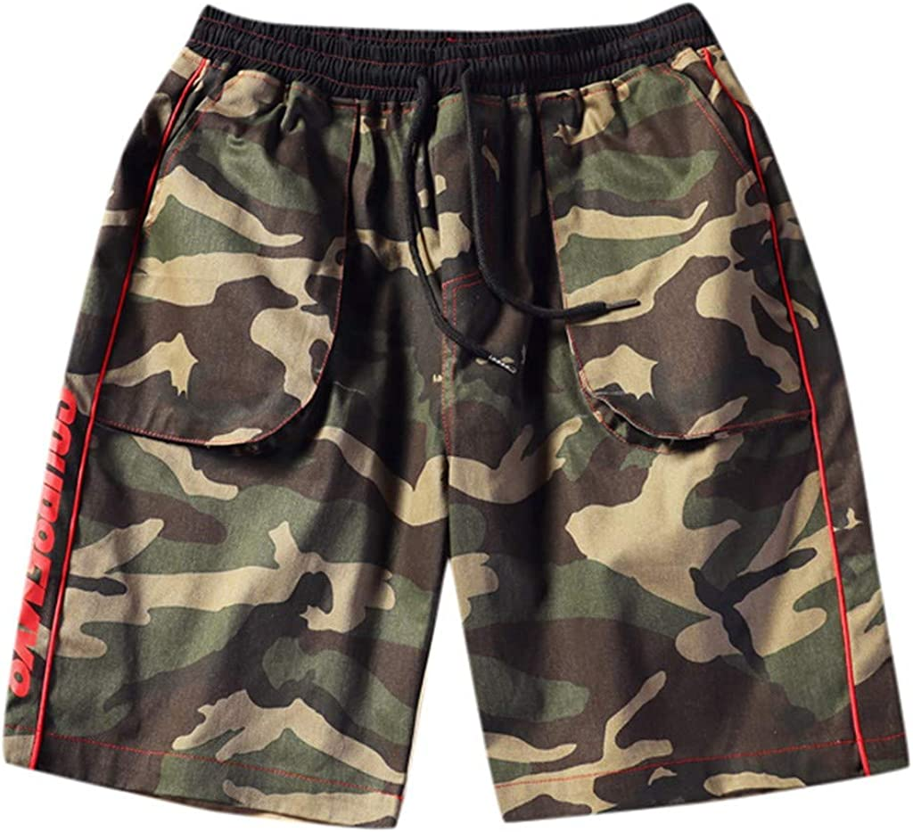 DIOMOR Mens Fashion Camouflage Drawstring Cargo Shorts Camo Elastic Waist Outdoor Athletic Beach Trunks Hiking Pants