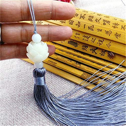 Phosphor Bodhi lotus tassel, equipped with white lotus and colored tassels and durable rope, can be hung on bags, car keychains and bookmark clothing