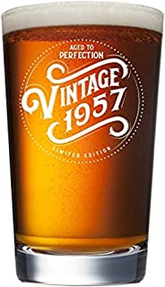 1957 62nd Birthday Gifts for Men and Women Beer Glass - 16 oz Funny Vintage 62 Year Old Pint Glasses for Party Decorations - Anniversary Gift Ideas for Dad, Mom, Husband, Wife - Best Craft Beers Mug