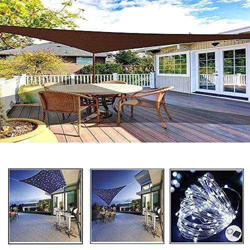 ZHENN Jardín Toldo, Marrón Triangle Vela De Protección Solar con Cadena De Luz LED, Cubierta De Pérgola Rayos UV para Balcón Terraza,Marrón,3X4X5m