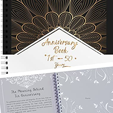 Anniversary Book - A Hardcover Wedding Memory Album To Document Wedding Anniversaries From The 1st To 50th Year! Unique Couple Gifts For Him & Her - Personalized Marriage Presents For Husband & Wife
