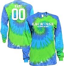 JANT girl Custom Lacrosse Blue Green Tie Dye Long Sleeve T-Shirt Lacrosse Logo