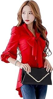 SansoiSan Womens Half Sleeve Casual V Neck Bow Tie Work Chiffon Blouse Tops