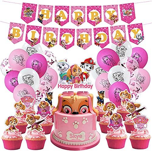 CYSJ 44 PCS Decoración Cumpleaños Patrulla Canina Globos Patrulla Canina Pancarta Cumpleaños Patrulla Canina Balloons Paw Dog Patrol Adornos de Cumpleaños Individuación para Niños Niñas