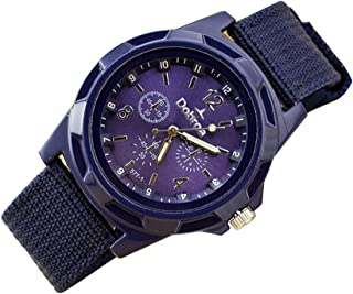 Mens Quartz Watch, Fashion Sport Analog Wrist Watch Braided Canvas Belt Watch
