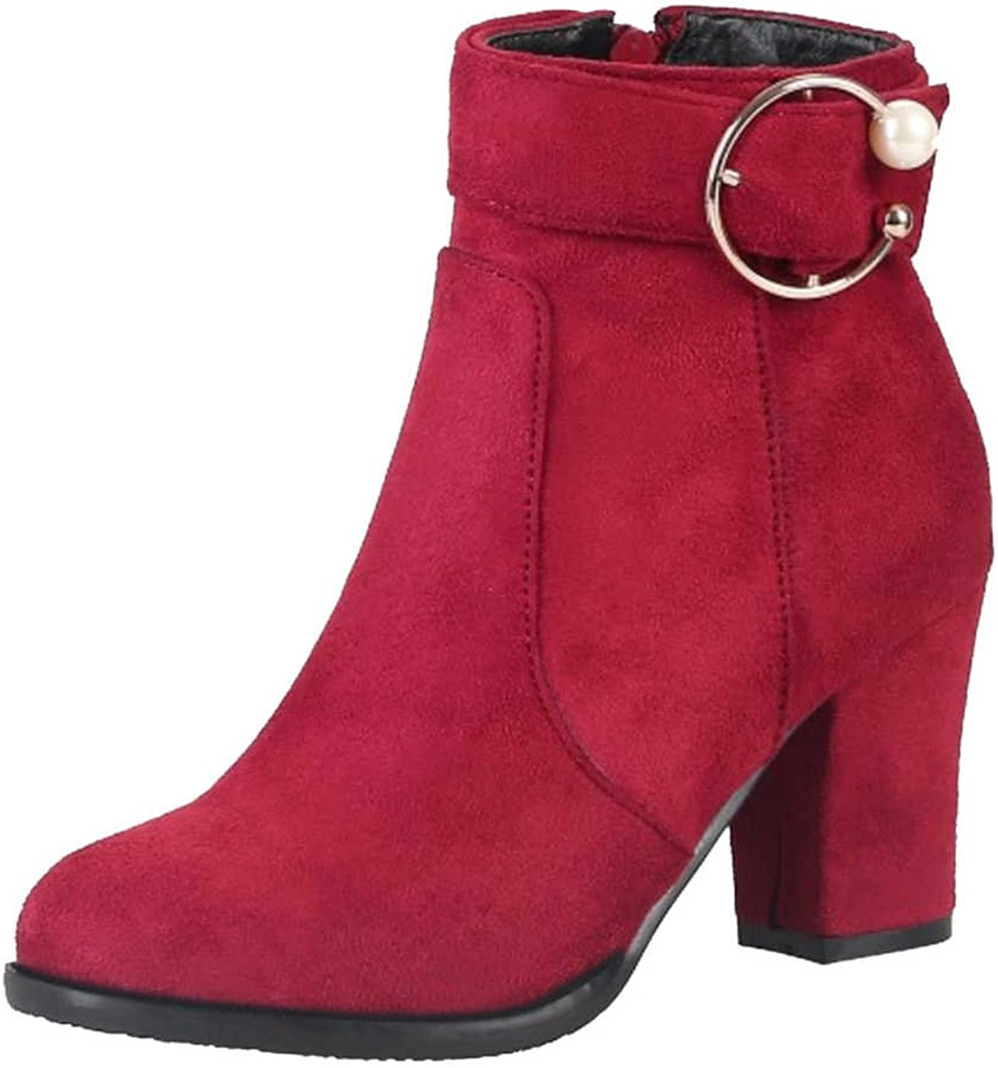 SJJH Women Ankle Boots with Mid Chunky Heel and Nubuck Materail Women Boots with Plus Size Avaialble