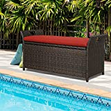 Patio Wicker Storage Bench Outdoor Rattan Deck Storage Box with Cushion (Red)