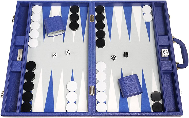 Silverman & Co. 19inch Premium Backgammon Set  Large Size  Indigo bluee Board