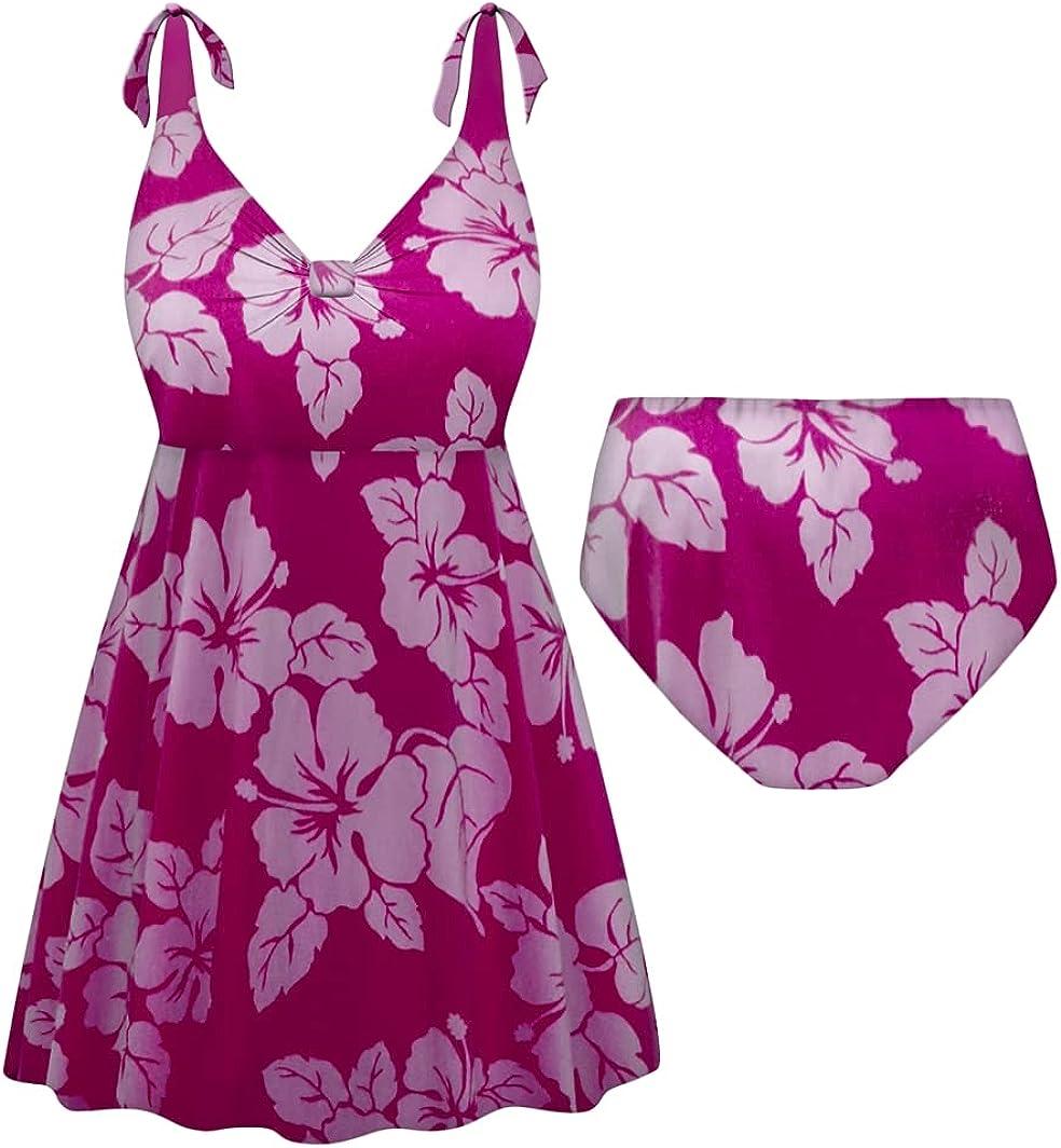 Plus Size Swimsuit Tall 2-PC Straps Swimdress Fuchsia Lehua Print