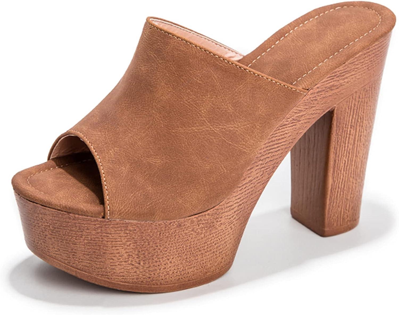 CYNLLIO Women's Summer Platform Sandals Block Heel Sandals Slip on Peep Toe Sandals Fashion Outdoor Slippers