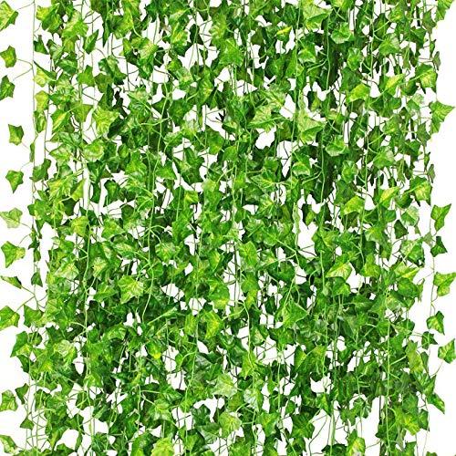 CQURE Künstliche Hängepflanzen, Fake Ivy Blätter Girlande Geschenke Party Garten Hochzeit Wand Home Decor 40 Füße 450 Blätter 12 Pcs Ivy