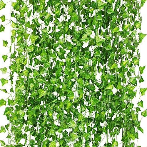 CQURE 12 Pack 84Ft Artificial Ivy Garland,Ivy Garland Fake Vines UV Resistant Green Leaves Fake Plants Hanging Vines for Home Kitchen Wedding Party Garden Wall Room Decor