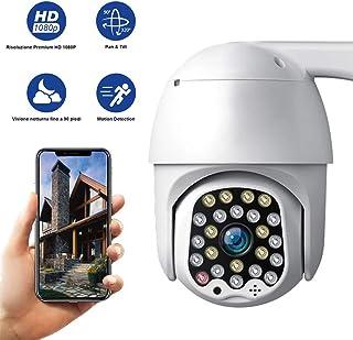 Cámara PTZ Exterior WiFi Cámara de Vigilancia IP66 Impermeable Seguridad Inalámbrica Cámara HD 1080P IR Vision Nocturna Detección de Movimiento Audio Bidireccional