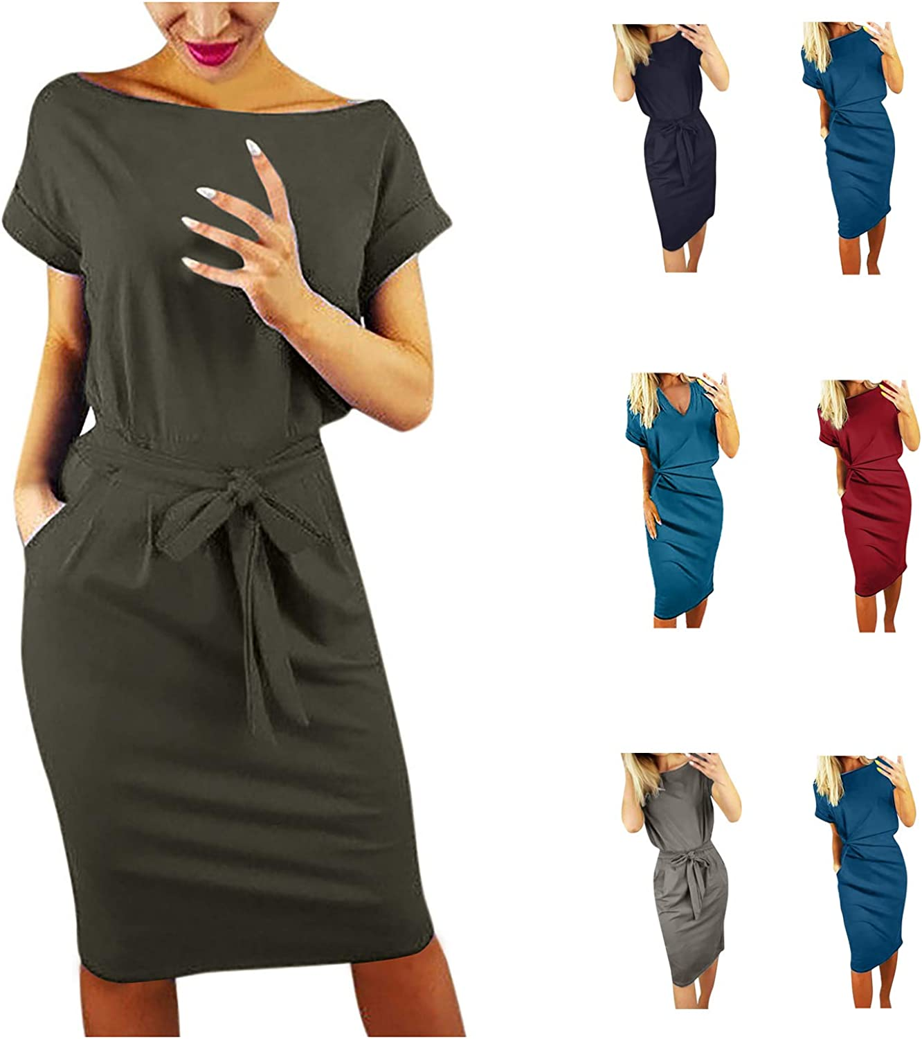 MINGE Women's Sexy Basic Crewneck Belted Office Dress with Pockets Solid Color Short Sleeve Party Slim Dress