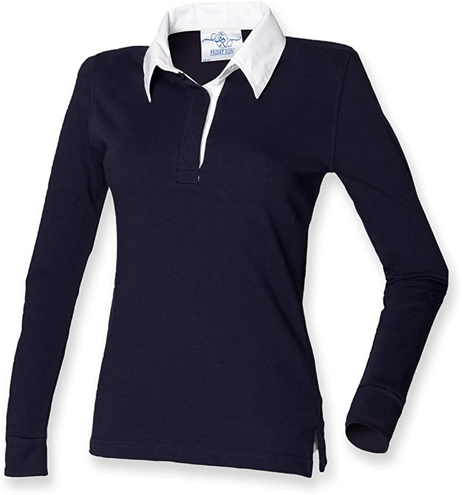 Front Row Women's Long Sleeve Classic Ranking TOP6 White Shirt Rugby Navy famous
