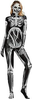 (ホーマイ)HOOMAI ドクロ ロンパース 全身タイツ ガイコツ 血糊 大人 ハロウィン コスプレ スケルトン 3dプリント 仮装 ホラー 怖い 悪魔 ドッキリ l 黒白 ドクロ