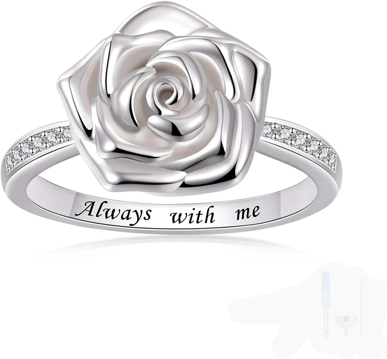 Bombing free shipping Rose Flower urn Ring for Ashes m Silver Bargain 925 Sterling with Always