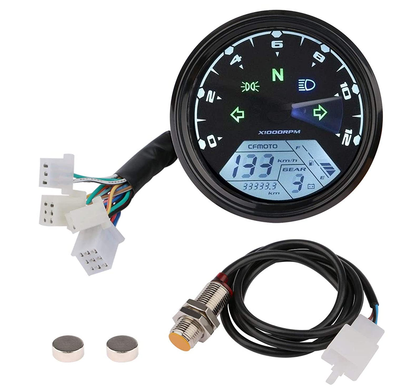Motorcycle Tachometer Speedometer, Digital LCD Odometer Universal 12V Scooter Backlit Speed Gauge Gear Oil Meter with LED Headlight Turn Signal Indicator
