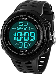LYMFHCH Men's Digital Sports Watch LED Screen Large Face Military Watches for Men Waterproof Casual Luminous Stopwatch Ala...