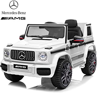 IKON MOTORSPORTS Licensed Mercedes Benz AMG G63 12V Ride On Car with Remote Control for Kids, Suspension System, Openable Doors, LED Lights, MP3 Player, New Version - White