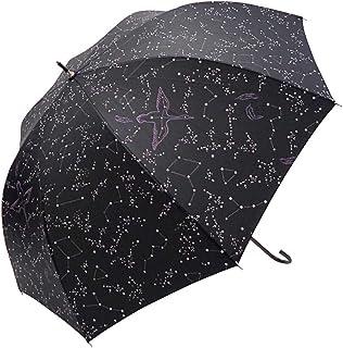 マーブドロップ 長傘 ラメ&ドーム傘 60cm 星座 ブラック ジャンプ 雨傘
